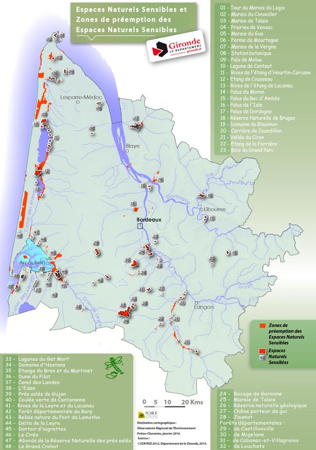Carte des espaces naturels sensibles de Gironde.